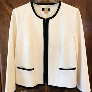 Talbots Emerson knit ivory tipped jacket